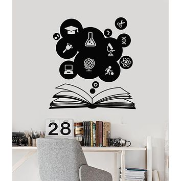 Vinyl Wall Decal Education Science Open Book Study School Classroom Stickers Mural (g2927)
