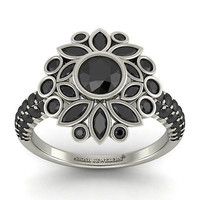 AMAZING 2.27CT BLACK ROUND 925 WHITE STERLING SILVER ENGAGEMENT RING FOR HER