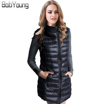 BabYoung 2017 Autumn Winter Long Down Coat Women Ladies Gilet Colete Feminino Casual Waistcoat Female Sleeveless Vest Jacket