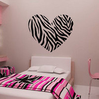 Zebra Stripe Heart Vinyl Wall Decal Sticker Zebra Print