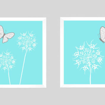 White Floral with Gray Butterflies on Light Aqua CUSTOMIZE YOUR COLORS, 8x10 Prints, Nursery Decor Print Baby Room Bathroom Livingroom Art