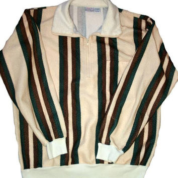 Vintage Mens Striped Quarter Zip Pullover Sweater Size Large