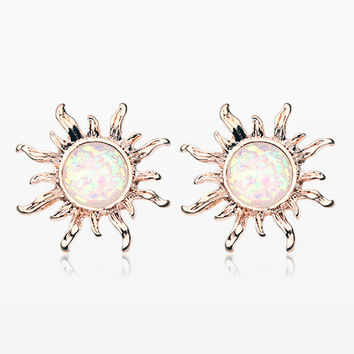 A Pair of Rose Gold Blazing Sun Opal Sparkle Stud Earrings