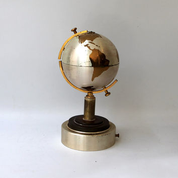 Vintage retro 1960s metal world globe cigarette holder