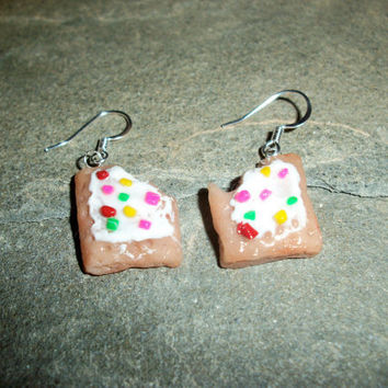Pop Tart Earring with Rainbow Sprinkles by moonknightjewels