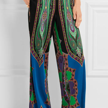 Etro - Printed silk-jersey wide-leg pants