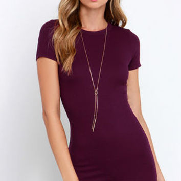 Hey Good Lookin' Short Sleeve Plum Purple Dress