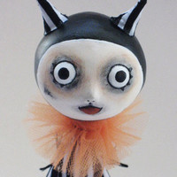 Devil Art Doll- Goth Halloween - Felted Pumpkin- MADE TO ORDER