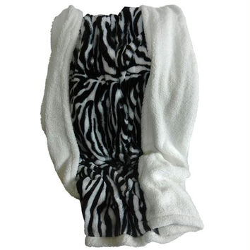 Lavish Home Fleece Sherpa Blanket Throw - Zebra