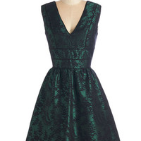 ModCloth Mid-length Sleeveless Fit & Flare Emerald Aisle Dress