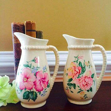 Vintage Ceramic Vase, Royal Copley Vase Pottery Set, Flower Vase, Bud Vase, Vintage Home Decor