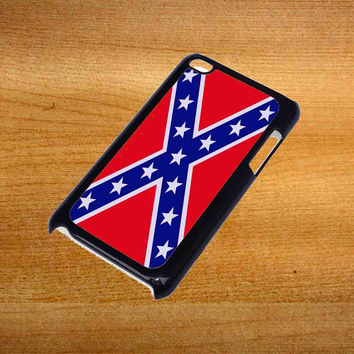 Rubber Confederate Rebel Flag For iPod Touch 4 Case *76*