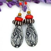 Zebra Earrings, African Batik Beads Red Coral Handmade Animal Jewelry