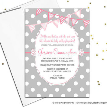 Baby girl baby shower invite printable baby shower invitations printed - polkadot invitations, pink and gray invitations - WLP00766