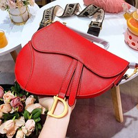 DIOR fashion hot selling women's solid color flip cover cross saddle bag