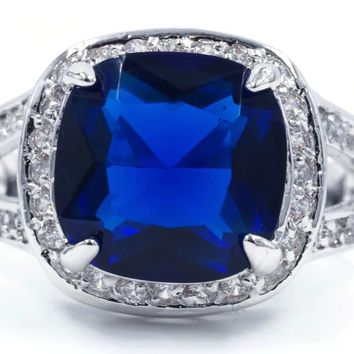 Huge Cushion Cut Sapphire Color Blue Spinel Stone Fashion Ring in Silvertone