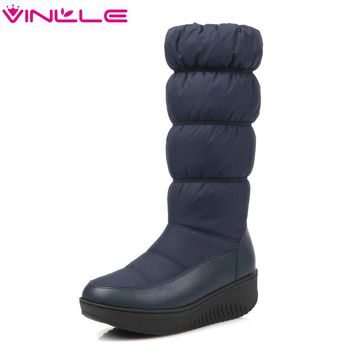 Size 35-43 2018 Winter Ladies Shoes Zipper Round Toe PU leather  Boots Square Low Heel Woman Shoes Snow Boots Black White