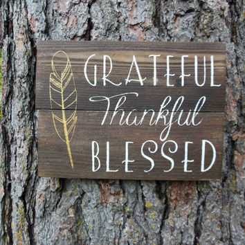 "Joyful Island Creations ""Grateful , Thankful, Blessed"" wood sign, gold feather, thanksgiving decor, thanksgiving sign"