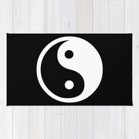 Yin Yang Black White Area & Throw Rug by BeautifulHomes | Society6