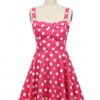 Pin-Up Polka Dots Dress in Pink