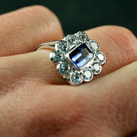 Tanzanite & Diamond Cluster Engagement Ring by Ruby Gray's | Ruby Gray's