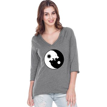 Yoga Clothing For You Yin Yang Wolves 3/4 Sleeve High Low Raglan Yoga Tee Shirt