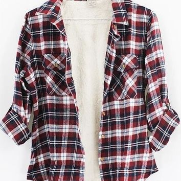 Burgundy & Navy Flannel Fur Lined Plaid Button Up Top