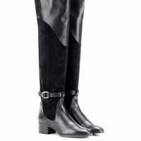 Suede and leather knee-high boots