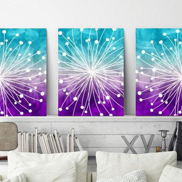 WATERCOLOR Wall Art, Watercolor Dandelion Art, Aqua Teal Purple, Bedroom Wall Decor, CANVAS or Prints, Dandelion Bathroom Decor, Set of 3