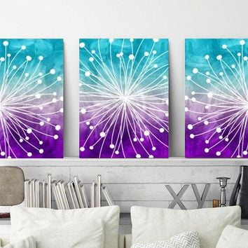 WATERCOLOR Wall Art, Watercolor Dandelion Art, Aqua Teal Purple, Bedroom Wall Decor Canvas or Prints  Dandelion Bathroom Decor, Set of 3