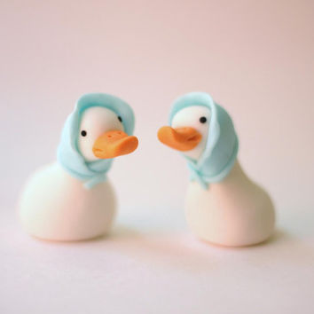Whimsical Goose Duck Fondant Cake Toppers - Wedding Cake Toppers - Rustic Wedding Cake Toppers - Fondant Goose Cake Topper - Fondant Duck