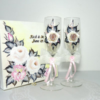 White and Gold Hand Decorated Romantic  Wedding Anniversary Champagne Glasses Toasting Flutes Beads Flowers Polymer Clay by Elena Joliefleur