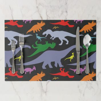 Colorful Dinosaur Pattern (Dark) Paper Placemat