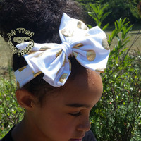 White Gold Big Bow Headbands - White and Gold Metallic Polka Dot Baby Bow Headbands - Girls Bow Wrap Turban Headbands
