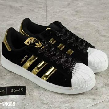 Adidas Fashion Shell-toe Flats Sneakers Sport Shoes Golden logo H-A36H-MY