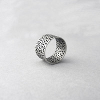 Sterling silver band ring with holes, Industrial design, organic ring, chevalier circles ring, bubble ring,