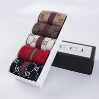 GUCCI ladies socks fashion printed socks a box of five pairs of high quality and low price