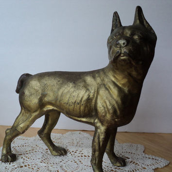 Hubley Doorstop Cast Iron Boston Terrier Antique Dog Statue Dog Lovers Gift Man Cave Home Decor