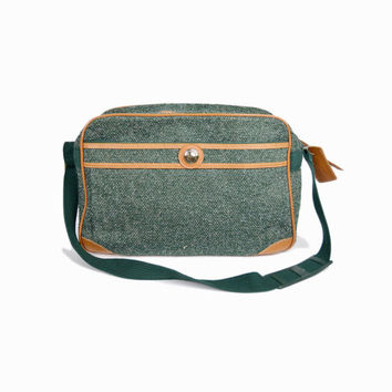 Vintage Tweed Weekender Bag in Forest Green / Overnight Travel Bag