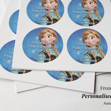 "Frozen Personalised Party Stickers 6 large ""Thank you for coming to my Party"" Birthday Anna Elsa Olaf Sven Kristoff"