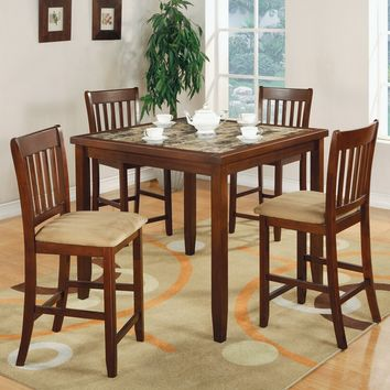5 pc Louis collection cherry finish wood faux marble counter height dining table set with padded seats