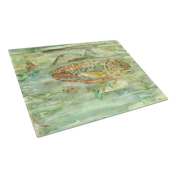 Abstract Red Fish Glass Cutting Board Large 8960LCB