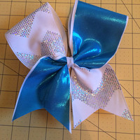 Shimmer chevron blue tic toc cheer bow