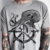 Men's t-shirt with octopus (jumbo size print)