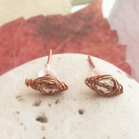 Smoky quartz studs - Smoky quartz earrings Quartz jewelry Copper wire earrings Copper wire jewelry Stud earrings Quartz stud earrings