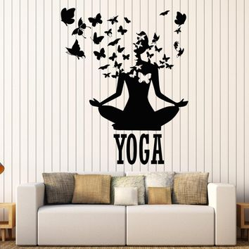 Lotus Meditation Buddhism Vinyl Wall Stickers Decor Yoga Center Pose Sticker Removable Waterproof Design Wall Decal  SA240