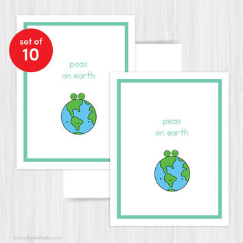 Funny Christmas Card Set Holiday Cards Humor Cute Handmade Greeting Peas on Earth Peace Pun Happy Holidays Xmas Card Boxed Set Pack of 10
