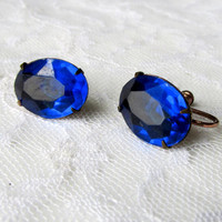 Sapphire Blue Earrings Single Oval Faceted Stone Prong Set Stone Vintage Collectible Gift Item 2232