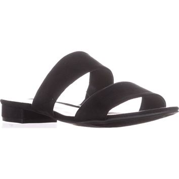 B35 Dreamer Double Strap Slide Sandals, Black, 7 US