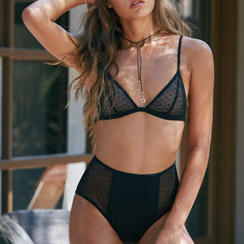 LA Hearts Swiss Dot Fixed Triangle Bikini Top at PacSun.com